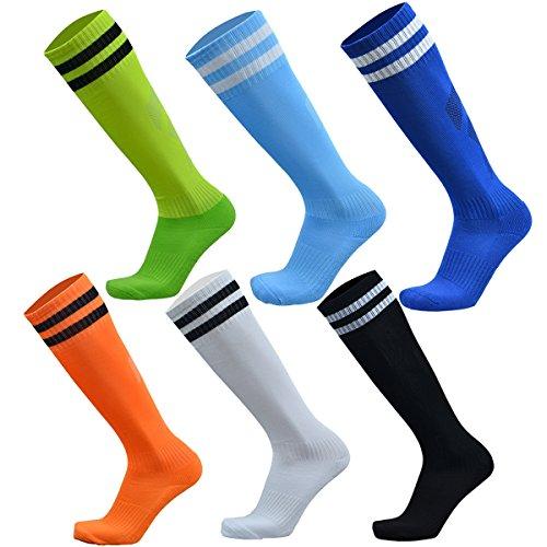 VWU Unisex Knee High Double Stripes Athletic Soccer Football Tube Socks for Adults&Children (Multicolour 6pcs, Large)