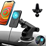 15W Wireless Car Charger Mount Compatible with iPhone 12 Series Magsafe, Automatic Magnetic Qi Fast Charging Car Air Vent Dashboard Stand Compatible with iPhone 12 Pro Max Mini All Qi Devices (Black)