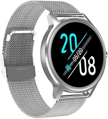TYX-SS Reloj Inteligente Mujeres Hombres 1.3 Frecuencia cardíaca Monitor de presión Arterial Rastreador de Ejercicios Smartwatch para iOS Android-Plata Malla
