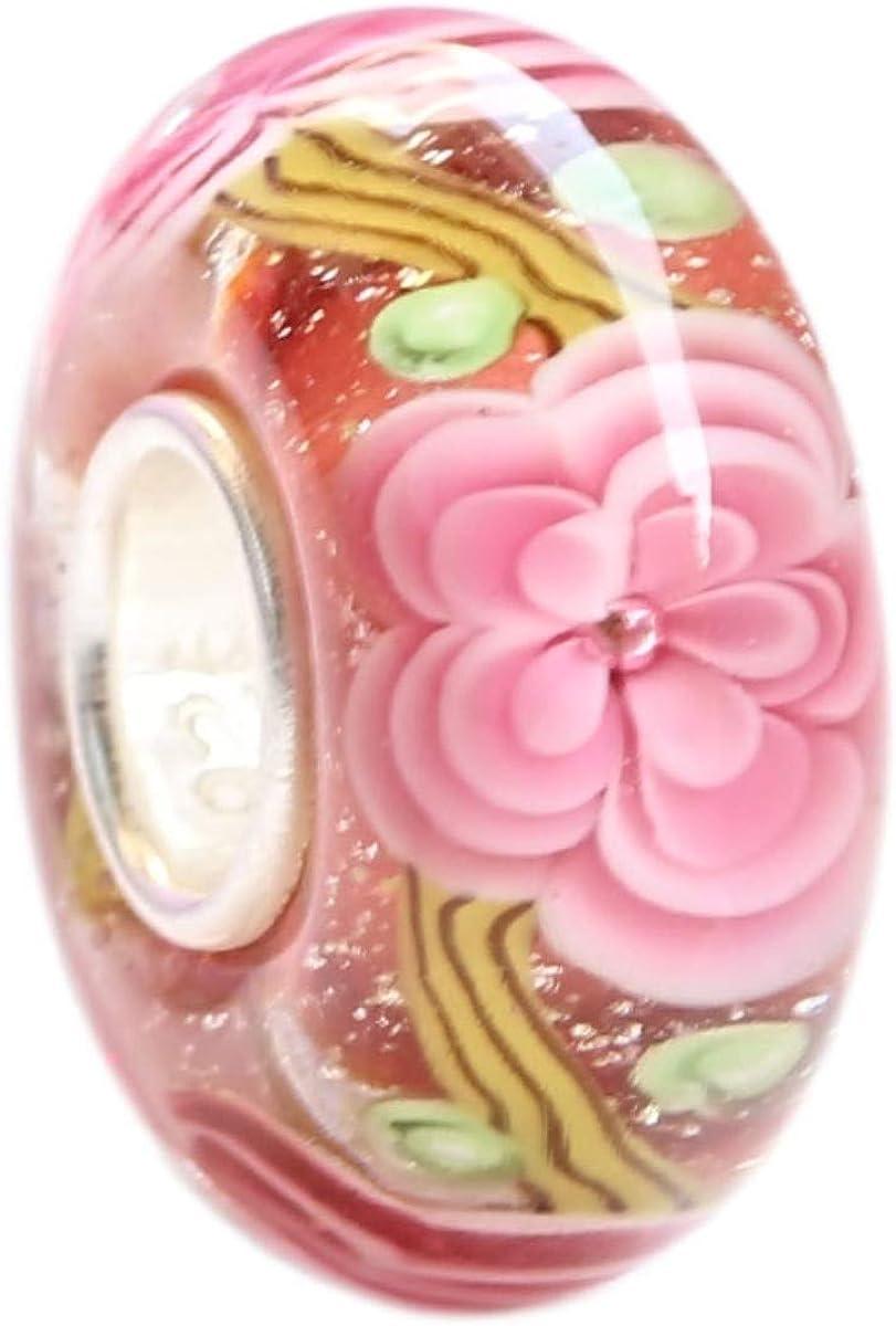 Beads Price reduction Hunter Pink Hawaii Garden Glass Charm Murano Bead Handmade Quality inspection