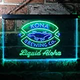 zusme Kona Brewing Company Beer Novelty LED Neon Sign Green + Blue W16 x H12