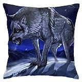 June flower Funda de almohada decorativa para el hogar, diseño de bosque nocturno y nieve, invierno, luna, lobo, para regalo, hogar, sofá, cama, coche, 45,72 x 45,72 cm