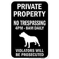 PRIVATE PROPERTY ブラックマグネットサイン:スタッフォードシャーブルテリア シルエット 英語 私有地 無断立入禁止