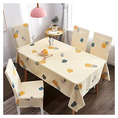GUOCU Mantel Rectangular Impermeable Antimanchas Algodón Lino Mantel de Mesa Decoración para Cocina Comedor Fiesta Mantel Silla Juego de Tela Piña Cuatro Fundas para sillas