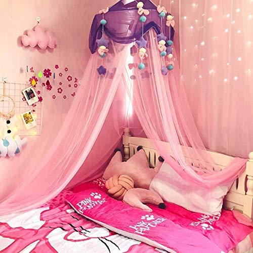 Beirich Grand ciel de lit rond romantique en forme de dôme avec moustiquaire pour décoration d'intérieur, chambre à coucher, bébé, rose, C C rose