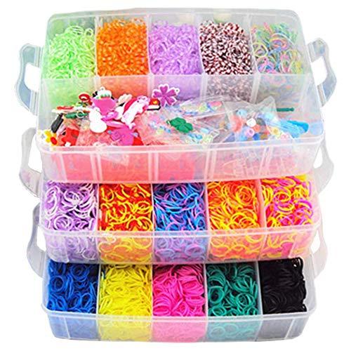 Rainbow Rubber Band Afwerkingsset, Inclusief 25 Kleuren 15000 Rubberen Banden, een breigoed, 40 Hangen, een Gehaakte Naald,2 Monster Staart Naalden,5 Tas Kralen,9 Pack S Buckle,6 Kleine haak Haken 1