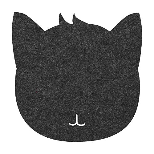 Yosoo Health Gear Mauspad Katze, Katzenform Antistatische Filze Tabelle Mauspad Büro Büro Staubdichte Schreibtischpads(Dunkelgrau)