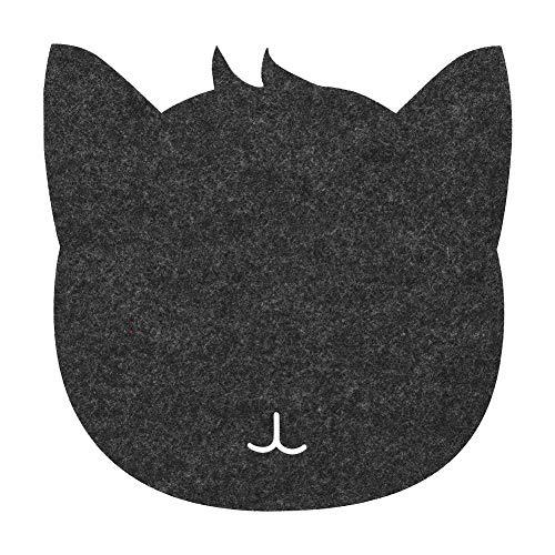 Yosoo Health Gear Alfombrilla de ratón Gato, Forma de Gato Fieltros antiestáticos Mesa Alfombrilla de ratón Oficina Cojines de Escritorio a Prueba de Polvo(Gris Oscuro)