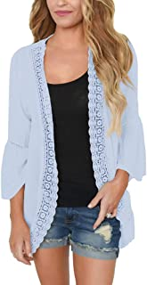 Women's Ruffle Bell Sleeve Kimono Cardigans Lace Cover Up Loose Blouse Tops