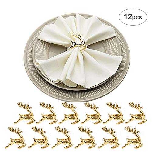 HSCC666 Gold Deer Napkin Rings - Set of 12 Napkin Rings Holders for Christmas, Thanksgiving, Dinners & Parties, Table Decoration Accessory