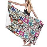 ASDTF Large Soft Microfiber Toalla de baño Blanket,Ceramic Tiles from Portugal,Bath Sheet Beach Towel for Family Hotel Travel Swimming Sports,52' x 32'