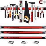 Deuba Set de 3 Barras magnéticas 60cm Rojo Negro para herramientas organización taller pared cocina capacidad de 23Kg