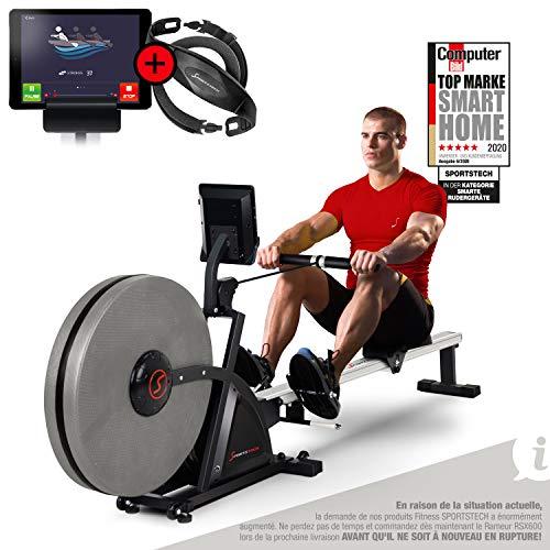 Sportstech rameur RSX600 Professionnel 2en1 | Fonction de Pliage brevetée + App + Multiplayer & Video Events + Moniteur de fréquence Cardiaque I résistance à l'eau + 16 programmes d'entraînement