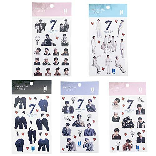 ALTcompluser Kpop BTS Map of The Soul 7 Stickers Wasserdicht Aufkleber Vinyl Aufkleber für Laptop, Macbook, Gepäck, Skateboard, 5 Blätter