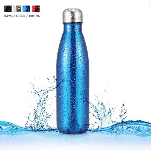 VGEBY Edelstahl Wasserflasche Vakuumisolierte Trinkflasche Cola Shaped Tragbar Isolierte Flasche für Outdoor Sport Camping Wandern Radfahren Picknick (Capacity : 500ML, Farbe : Blau)