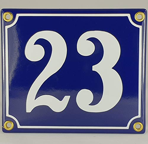 Hausnummer Emaille Schild Nr. 23 Blau-Weiß