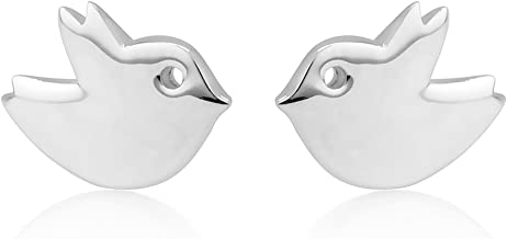 925 Sterling Silver Lovely Tiny Little Chubby Bird Post Stud Earrings 9 mm