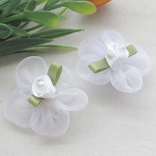 Chenkou, fiori e nastri di organza, accessori per matrimonio, 40 pezzi White