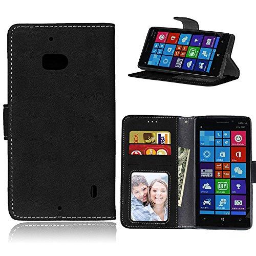 Janeqi per Nokia Microsoft Lumia 930 Cover Custodia - Borsa Vintage in Pelle Flip con Trattamento Anti-Caduta Case Cover - H2/Nero