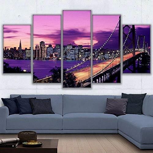 Cuadros colgantes de lienzo de 5 piezas Atardecer Cielo Púrpura Puente Golden Gate Cuadros Decoracion Salon Modernos HD Impresión Foto Innovador Regalo Enmarcado
