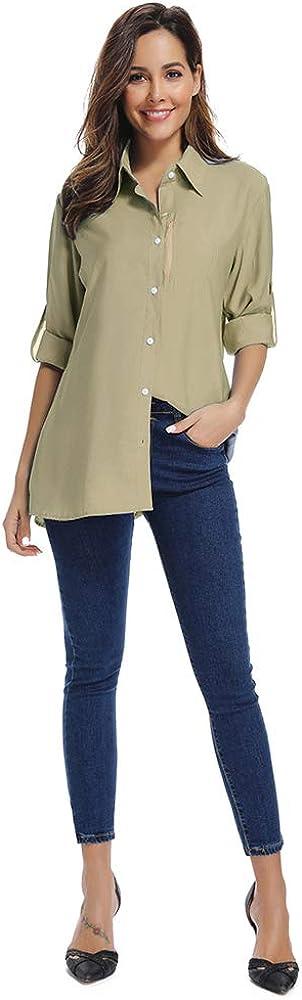 Womens UPF 50 Long Sleeve Sun Protection Shirts Quick Dry Outdoor Fishing Hiking Travel Shirt