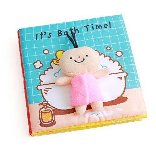 Raniaco Fühlbuch Baby, It's Bath Time - Babybuch, 7 Seiten mit kleine Puppe, Quietschem Papier für Babys und Kleinkinder ab 3 Monate (Bath)