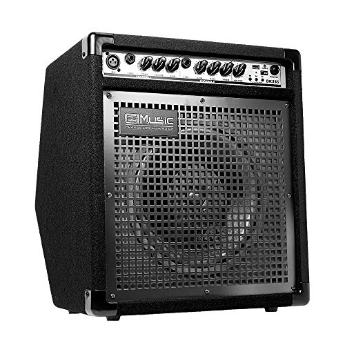 COOLMUSIC DK35S 50W Bluetooth Electric Drum Amplifier Keyboard Speaker with USB Input Record Function, Drum/Keyboard/MIC 3 in 1 Amplifier with Reverb Effect and DI OUT
