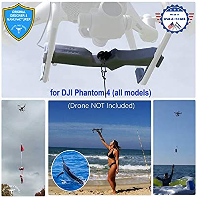 Professional Release and Drop Device for DJI Phantom 4 All Models, for Drone Fishing, Bait Release, Payload Delivery, Search & Rescue, Fun Activities. - Free Drop Parachute Included - by Drone Sky Hook Ltd