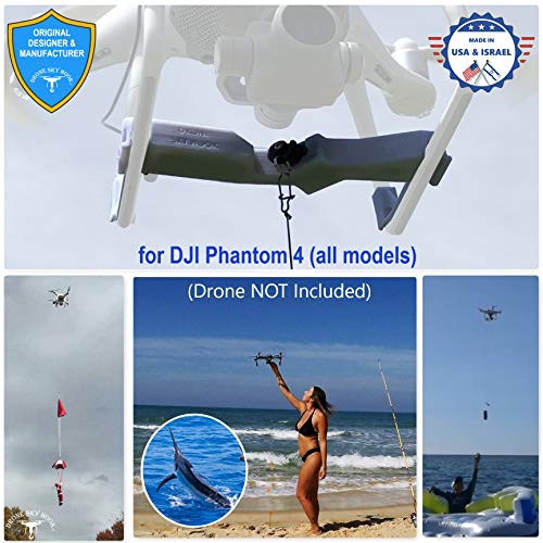 Professional Release and Drop Device for DJI Phantom 4 All Models, for Drone Fishing, Bait Release, Payload Delivery, Search & Rescue, Fun Activities. - Free Drop Parachute Included -