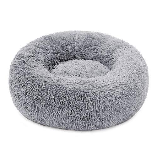 Plush Donut Pet Bed,Dog Cat Round Warm Cuddler Kennel Soft Puppy Sofa,Luxury Cat Cushion Bed Sleeping Bag Orthopedic Relief and Improved Sleep,Anti-Slip Bottom,Machine Washable (XL-27.6' x 7.9', Grey)