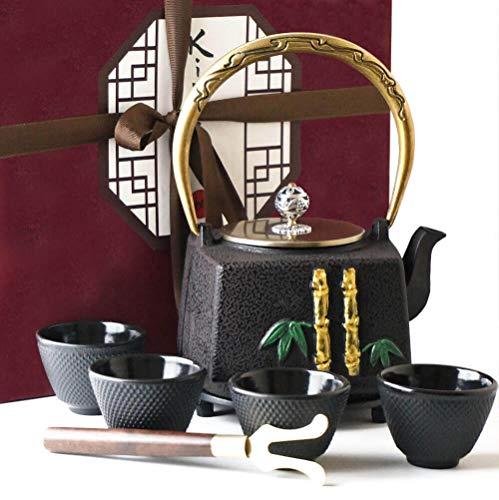 KIYOSHI Luxury 8PC Japanese Tea Set - Unique Square Shape - Cast Iron Tea Kettle with 4 Tea Cups, 1 Teapot Trivet and 1 Wood Lid Holder - Stovetop Safe