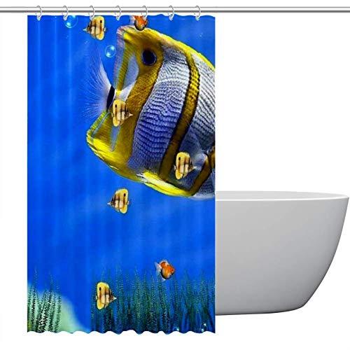 ASDFSD Ocaen - Cortina de ducha con diseño de peces - fácil de limpiar - 122 x 182 cm