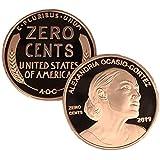 Aizics Mint Alexandria Ocasio-Cortez – AOC - Zero Cents Democrat Penny   Democrat Novelty Coin Token   Copper Plated Large Size 30mm x 2mm   MAGA   A.O.C.   Nonsense = no Cents!!