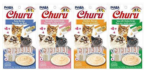 INABA Churu Lickable Purée Natural Cat Treats (Tuna and Chicken Variety Pack, 16 Tubes)
