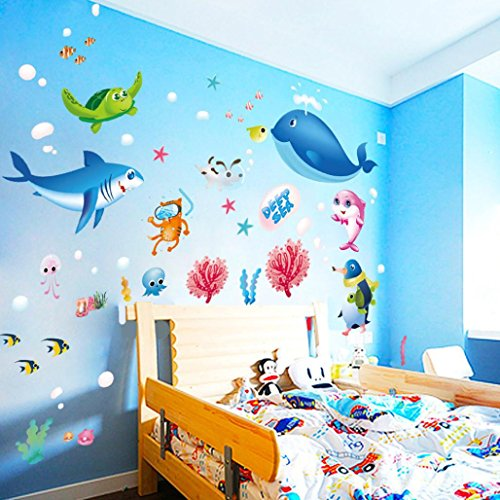 Saingace Wandaufkleber Wandtattoo Wandsticker,Bunte Fisch-Haifisch-Ozean-Wand-Aufkleber-Vinylabziehbild-Wandbild-Kinderzimmer-Dekor