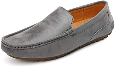 Soft Daily Easeful Leisure Drive Loafers for Men Round Toe Fooling Flat Moccasins Shoes Genuine Leather Slip On Stitch Lightweight Non-slip Wide Casual