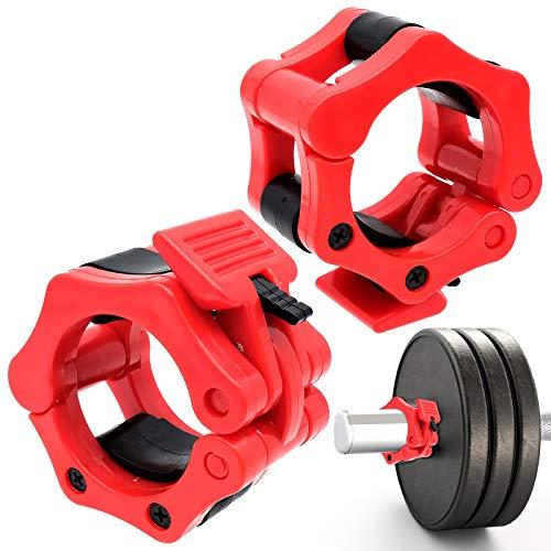 Cisolen Bloqueadores para Barras de Pesas Abrazaderas de Topes Liberación Rápida para Barra Fitness Entrenamiento de Fuerza Levantamiento de Pesas (50 mm) (Rojo)