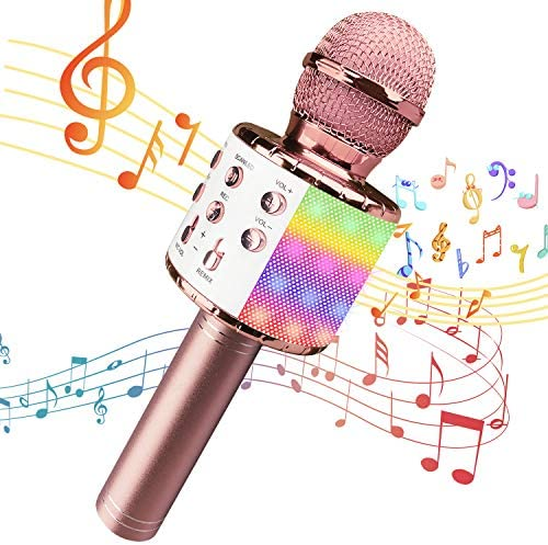 Wireless Karaoke Microphone for Kids with LED Lights Portable Handheld Bluetooth Speaker Mic product image
