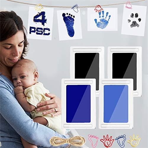 Baby Fussabdruck Set 4pcs, Abdruck set baby für Neugeborene 0-6 Monate, TBoonor Ungiftig Reinigen Stempelkissen kit mit Impressum Karten, Clips und Seil (3.Schwarz Blau-4psc)