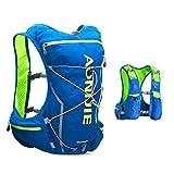 TRIWONDER Chaleco de Hidratación Ligero 10L Superior Mochila para Trail Running Ciclismo Marathoner al Aire Libre Hombre Mujer (Azul y Verde- con 2 Botellas de Agua Blandas (350 ml), M/L- 80-97cm)