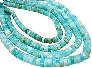 Jewel Beads 50% Off Blue Peruvian Opal Beads, Faceted Heishi, Wholesale Opal, Blue Opal Heishi 7 inch Strand 9-13mm Code-AUR-68804