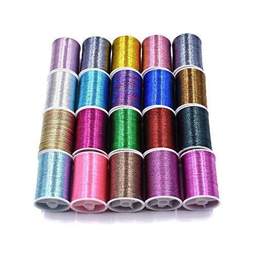 20 Spools Múltiples Colores de Línea Flash Material de Atado de Moscas...