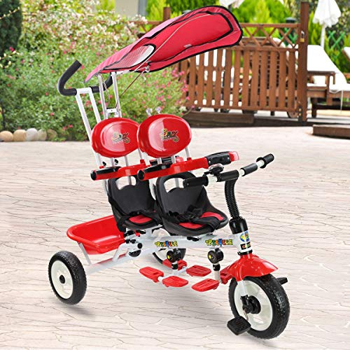 Great Deal! 4 in 1 Twins Kids Baby Stroller Safety Double Rotatable Seat (red)