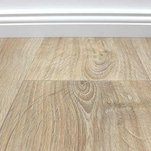 PVC Vinyl-Bodenbelag in gekalkter Holzoptik Eiche | PVC-Belag verfügbar in der Breite 4 m & in der Länge 2,5 m | CV-Boden wird in benötigter Größe als Meterware geliefert | rutschhemmend