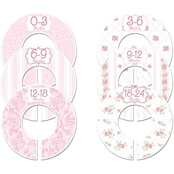 C102 Baby Girl Nursery Closet Clothing Size Dividers Pink Roses Set of 6 (1.25 Inch Rod)