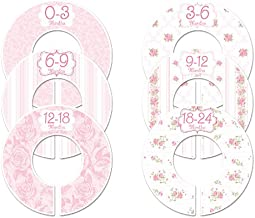 C102 Pink Roses Baby Closet Size Dividers Girl Set of 6 (1.25 Inch Rod)