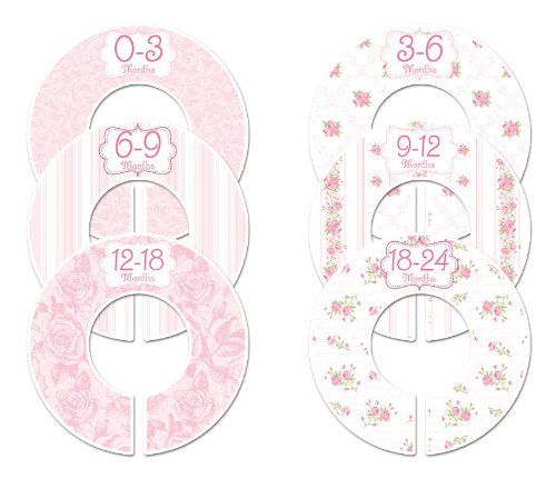 C102 Baby Girl Nursery Closet 5 ☆ popular Pink Dividers Roses Regular discount Size Clothing