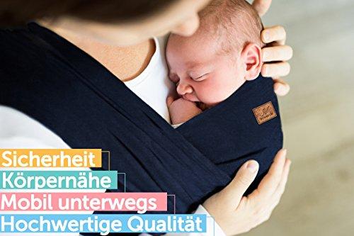 SOVERDE® Tragetuch – Babytragetuch für jede Größe I DUNKELBLAU I Inkl. Deutsche Binde Anleitung I Baby Erstausstattung - 3