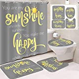 ArtSocket 4PC You are My Sunshine Shower Curtain Sets with Rugs, Bathroom Curtains Shower with Non-Slip Rug,Toilet Lid Cover, Bath Mat and 12 Hooks 72x72inch