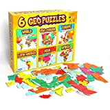 GeoToys — 6 GeoPuzzles Set in One Box — Educational Kid Toys for Boys and Girls, 50+ Piece Geography Jigsaw Puzzles, Jumbo Size Kids Puzzles — Ages 4 and up